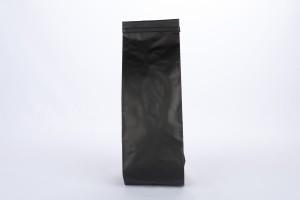 BOLSA CAFE 8.8x32 NEGRO MATE CON VALVULA Y PEEL Y STICK (A01746cvp) 250 GR