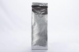BOLSA CAFE 8.8x32 PLATA CON VALVULA Y PEEL Y STICK (NTY220cvp) 250 GR
