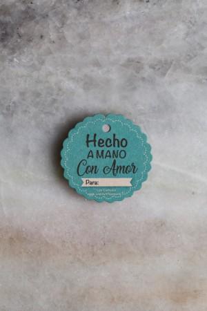 TARJETA DECORATIVA CIRCULAR CON MORAS CON CINTA 6 cm (HECHO A MANO CON AMOR)