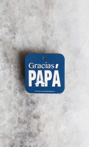 TARJETA DECORATIVA CUADRADA CON CINTA 5,3 cm (GRACIAS PAPA)